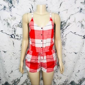 Old Navy Gingham Print Button Up Romper Red White